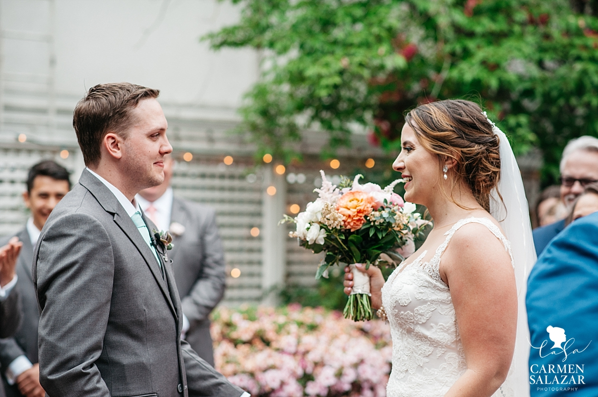 Groom sees bride at ceremony - Carmen Salazar