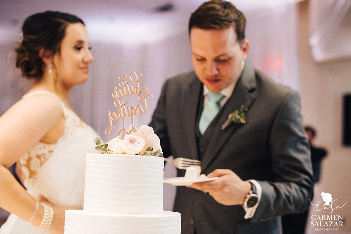 Custom rose gold wedding cake topper - Carmen Salazar