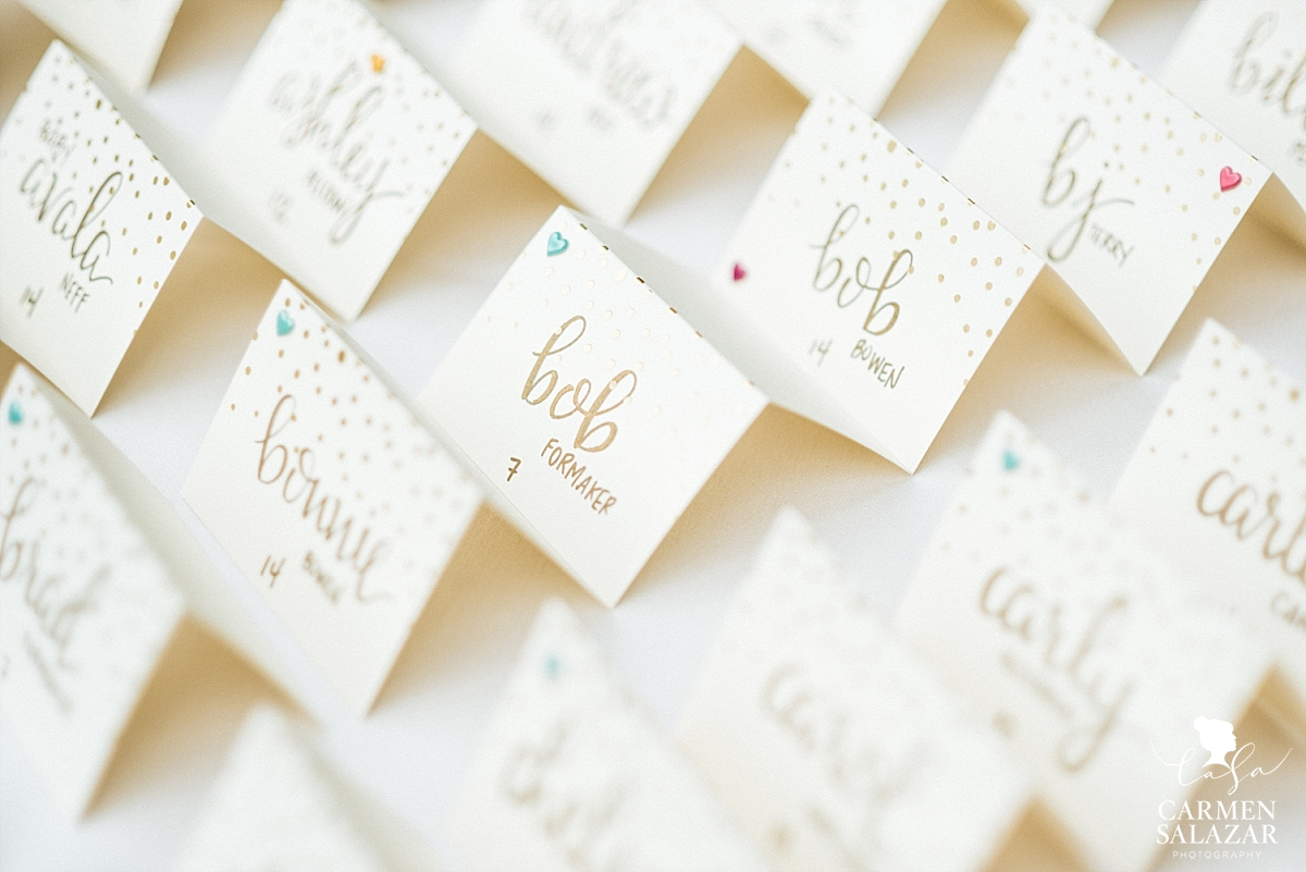 Hand-lettered reception seating cards - Carmen Salazar