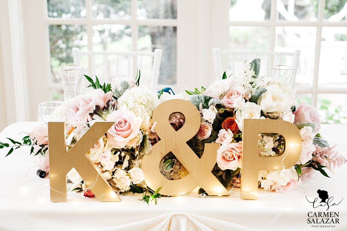 Modern gold sweetheart table letters - Carmen Salazar
