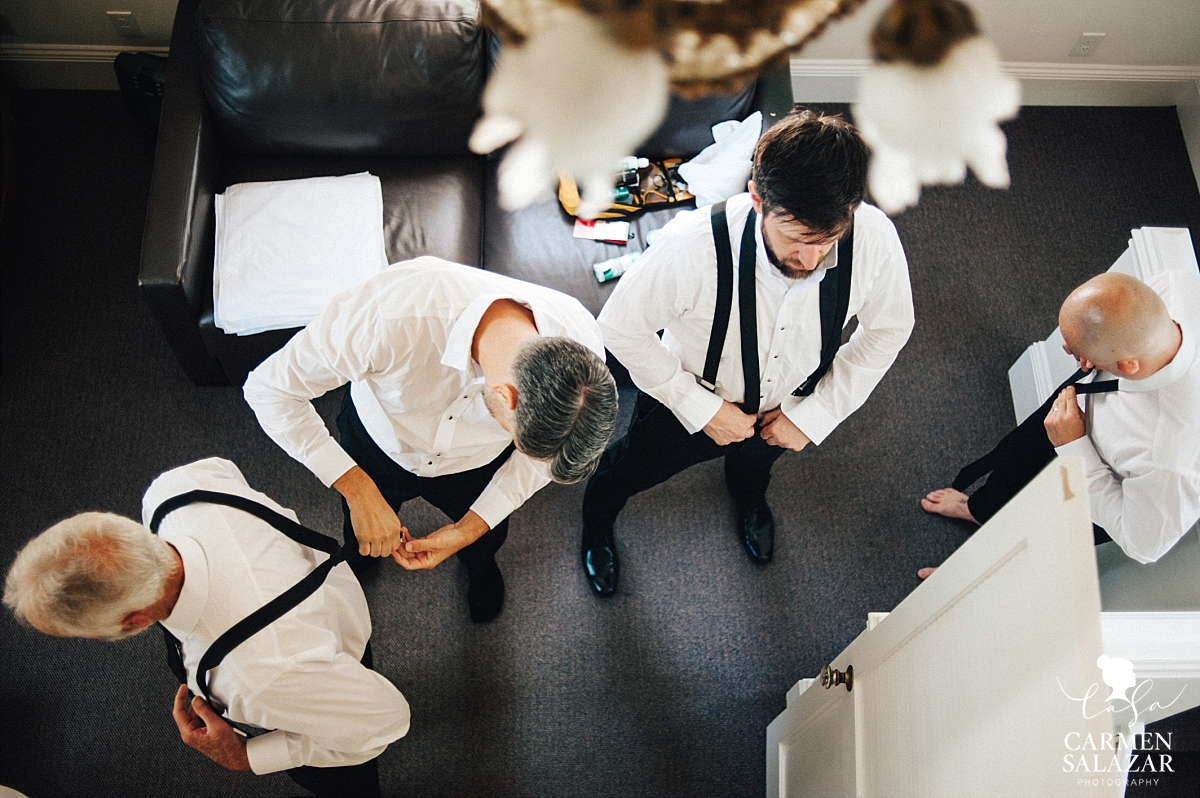 Groom and groomsmen get ready at Park Winters - Carmen Salazar