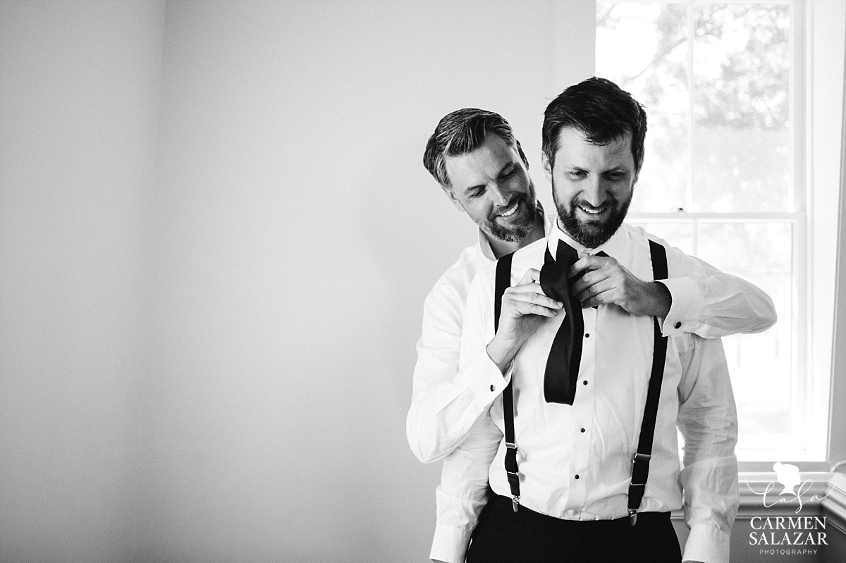 Groom helps his brother get ready at Park Winters - Carmen Salazar