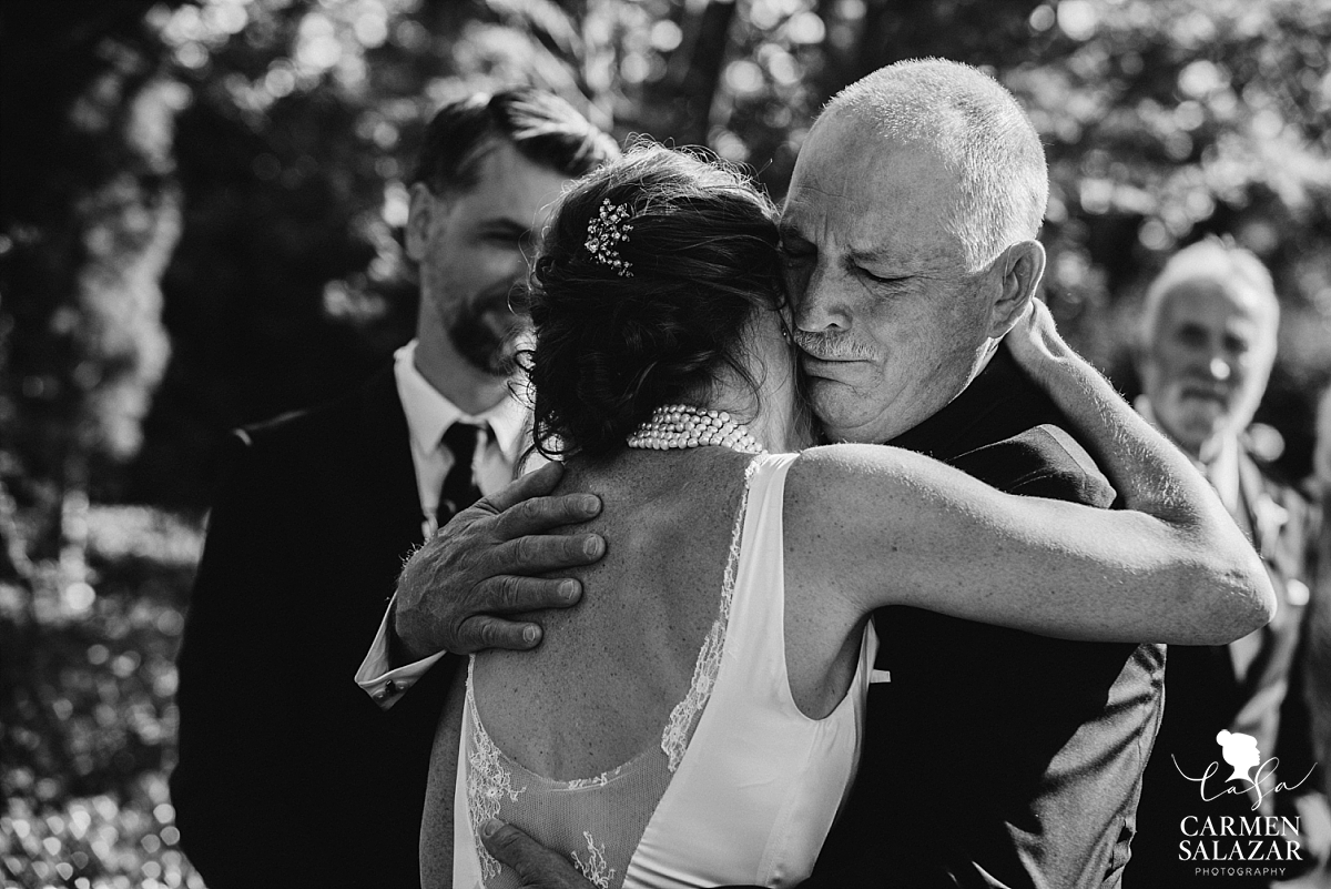 Crying father at Park Winters wedding ceremony - Carmen Salazar