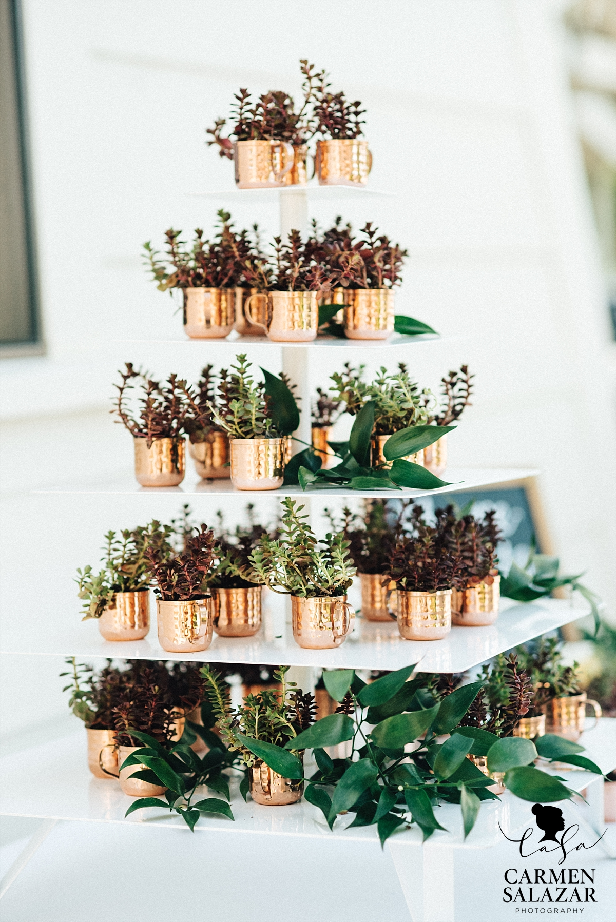 Succulent wedding favors in copper cups - Carmen Salazar