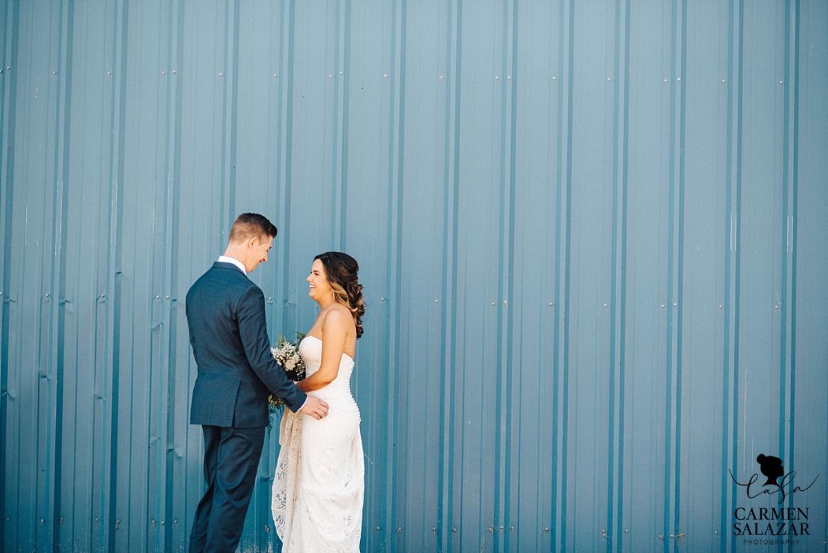 Bold blue first look photography - Carmen Salazar