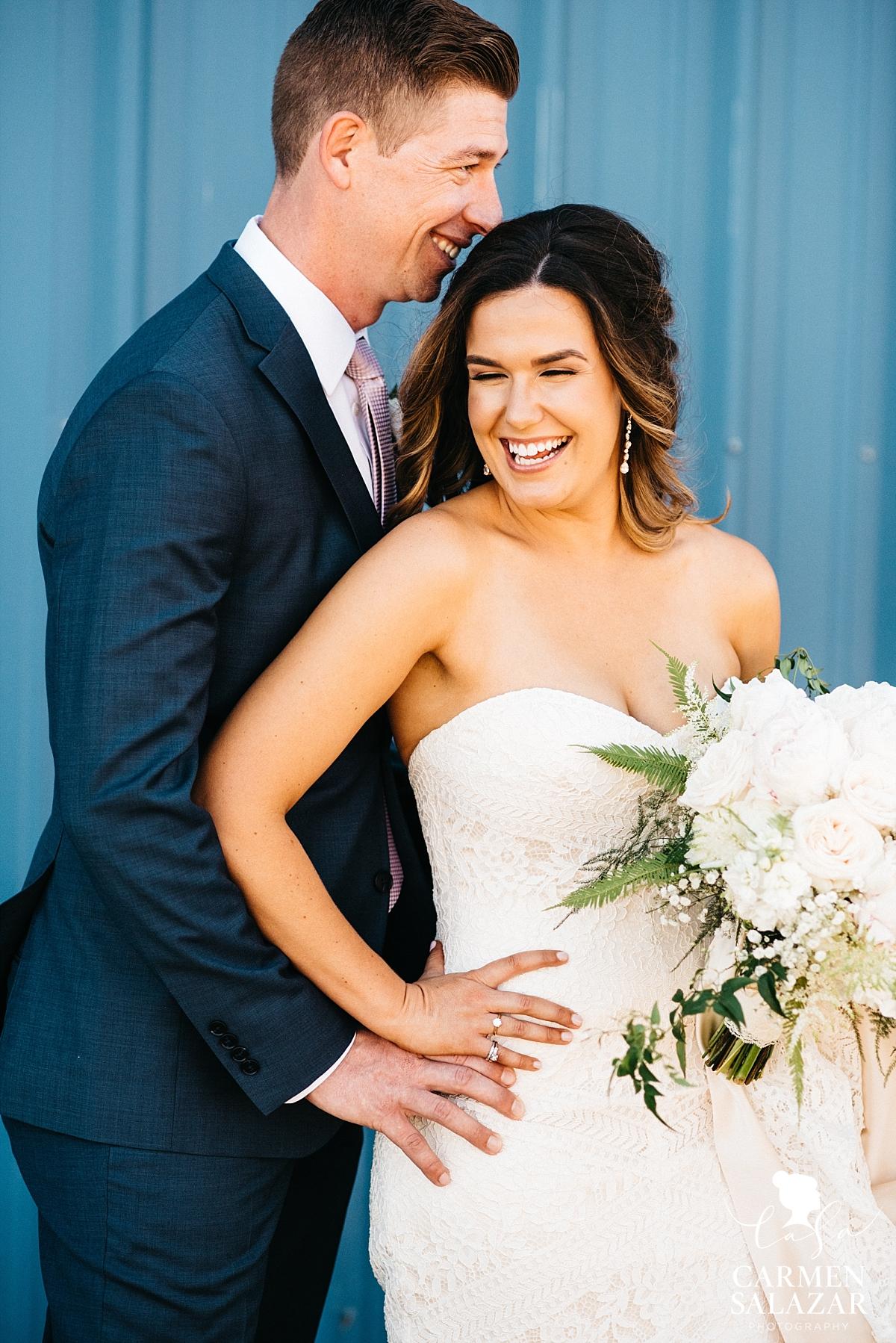 Joyful bride and groom wedding portraits - Carmen Salazar