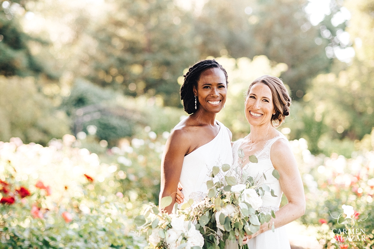 Same-sex brides in McKinley Rose Garden - Carmen Salazar