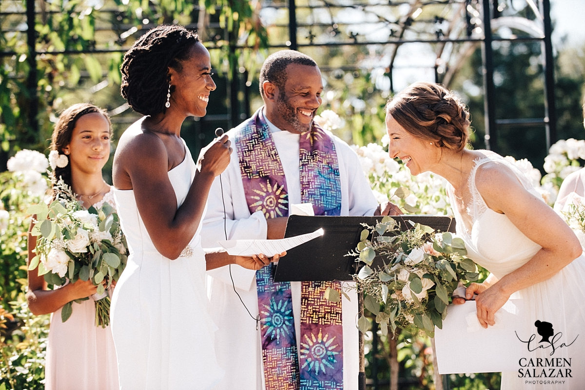 Brides laugh at vows in McKinley Rose Garden - Carmen Salazar