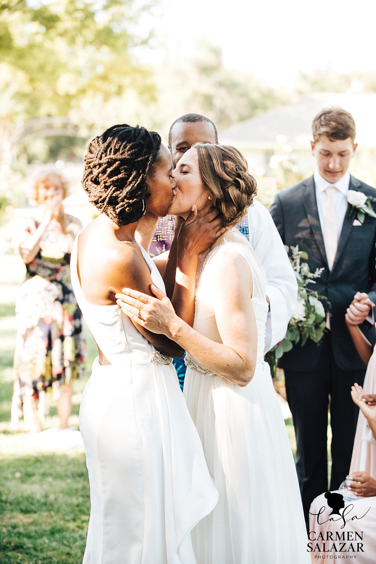 Brides' first kiss at McKinley Rose Garden - Carmen Salazar