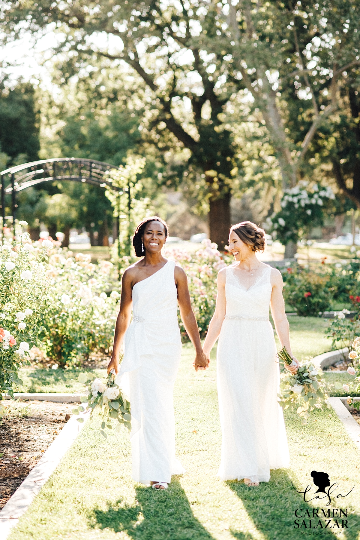 Glowing brides in Rose Garden wedding - Carmen Salazar