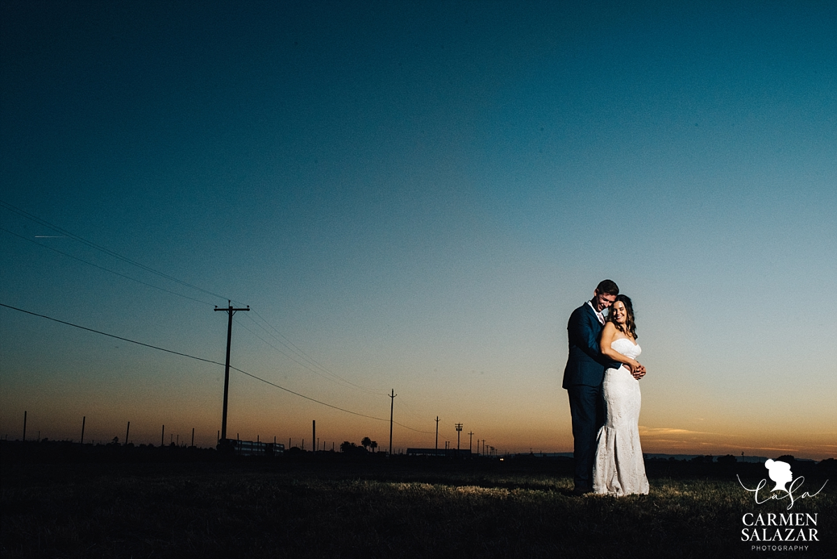 Epic barnyard wedding sunset portraits - Carmen Salazar