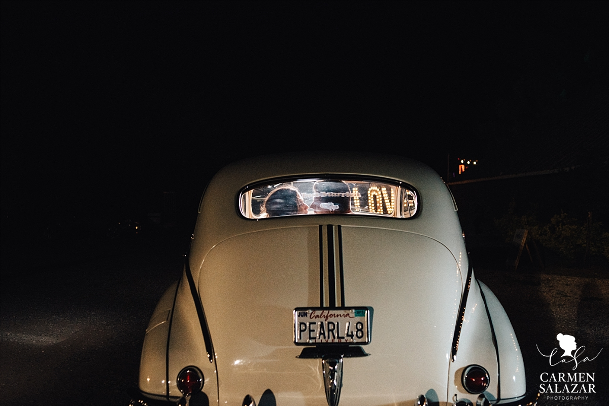 Vintage wedding car grand exit portraits - Carmen Salazar