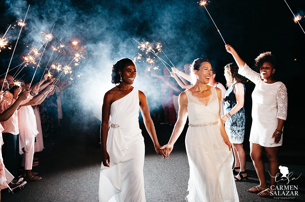Brides' sparkler grand exit from reception - Carmen Salazar