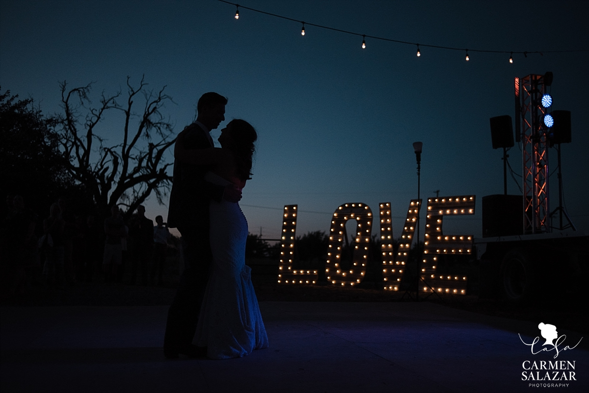 Love wedding sign silhouette portraits - Carmen Salazar