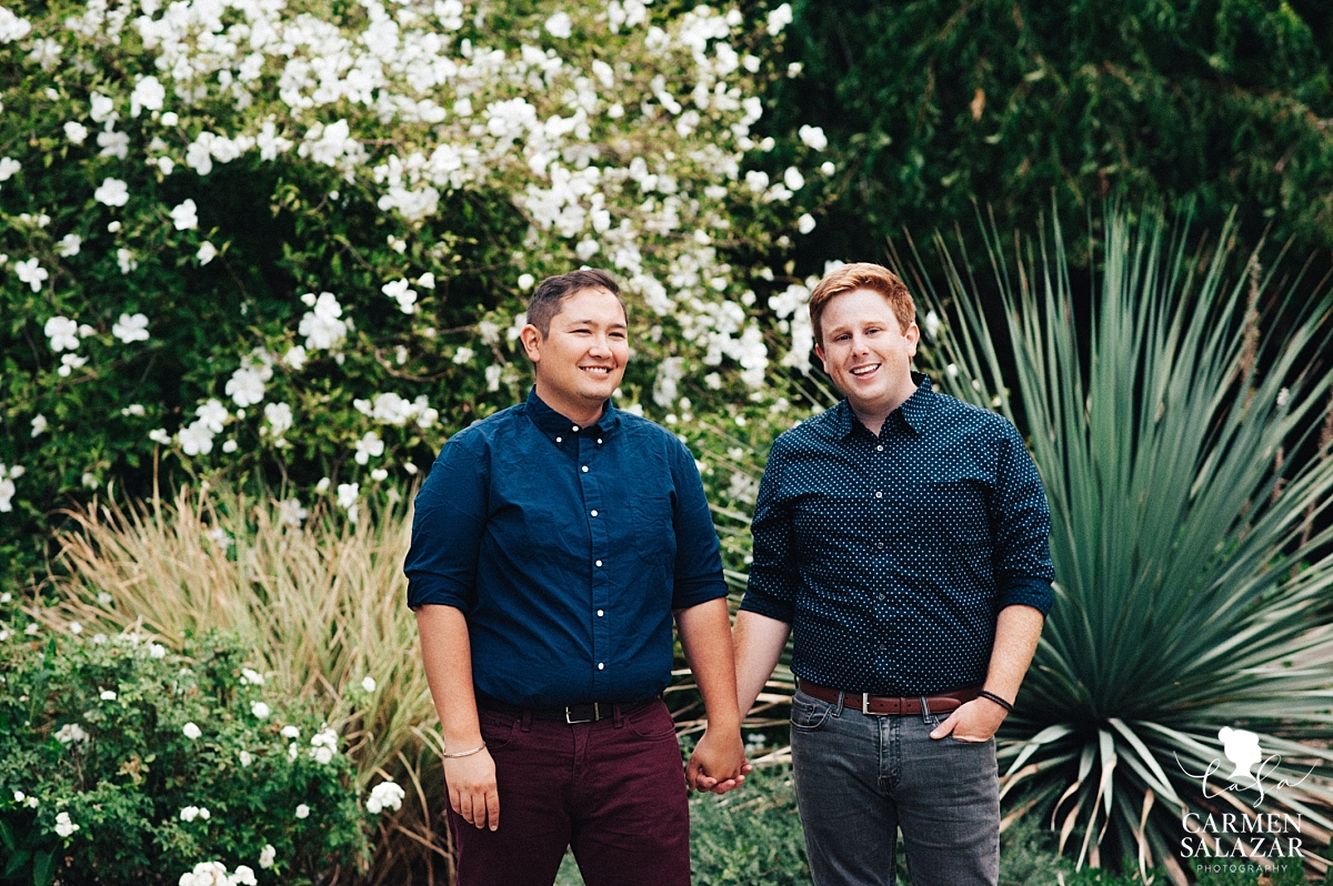 Davis arboretum same-sex engagement session - Carmen Salazar
