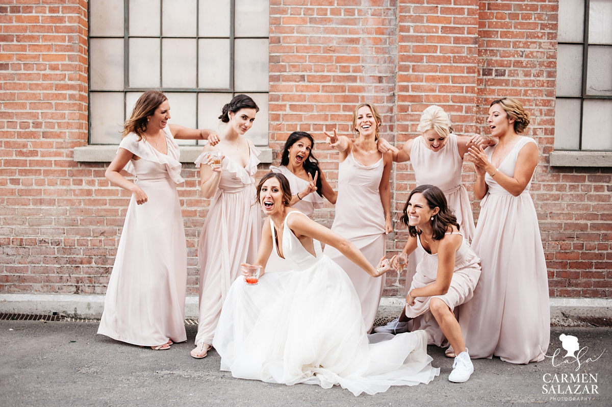 Fun bridesmaids pose at Old Sugar Mill Wedding by Sacramento Wedding Photographer Carmen Salazar