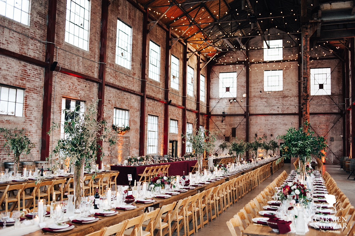 Family Style wedding table setting at Old Sugar Mill winery by Sacramento Wedding Photographer Carmen Salazar