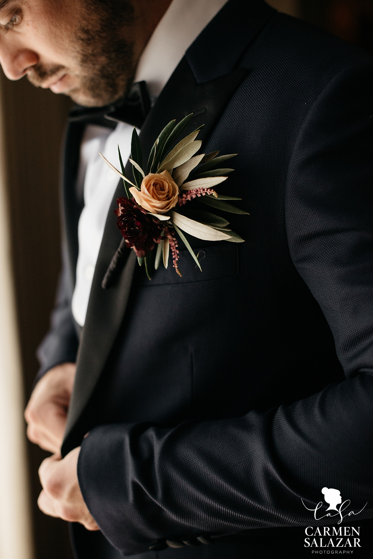 olive branch boutonniere by Visual Impact by Sacramento wedding photographer Carmen Salazar