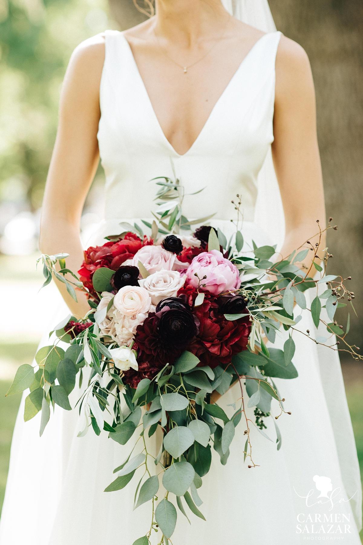 pink and red peony and rose spring bouquet by Visual Impact by Sacramento wedding photographer Carmen Salazar
