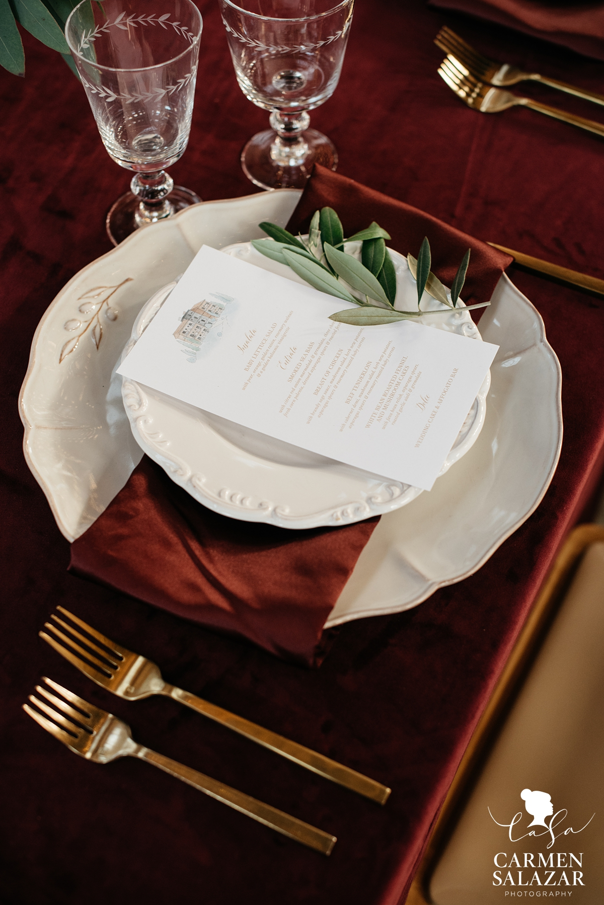 Italian themed wedding menu and place setting by Sacramento Wedding Photographer Carmen Salazar