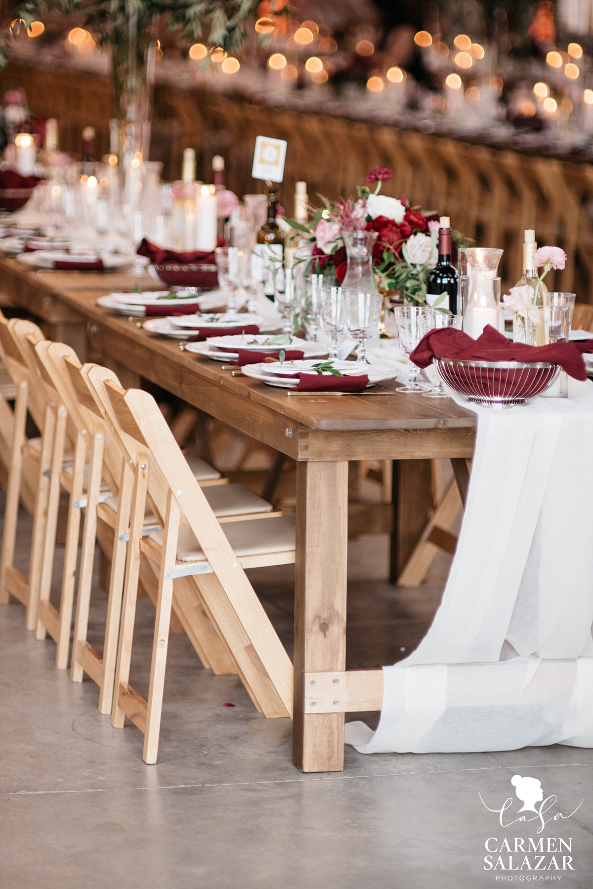 Farm house tables at Old Sugar Mill wedding reception by Sacramento Wedding Photographer Carmen Salazar