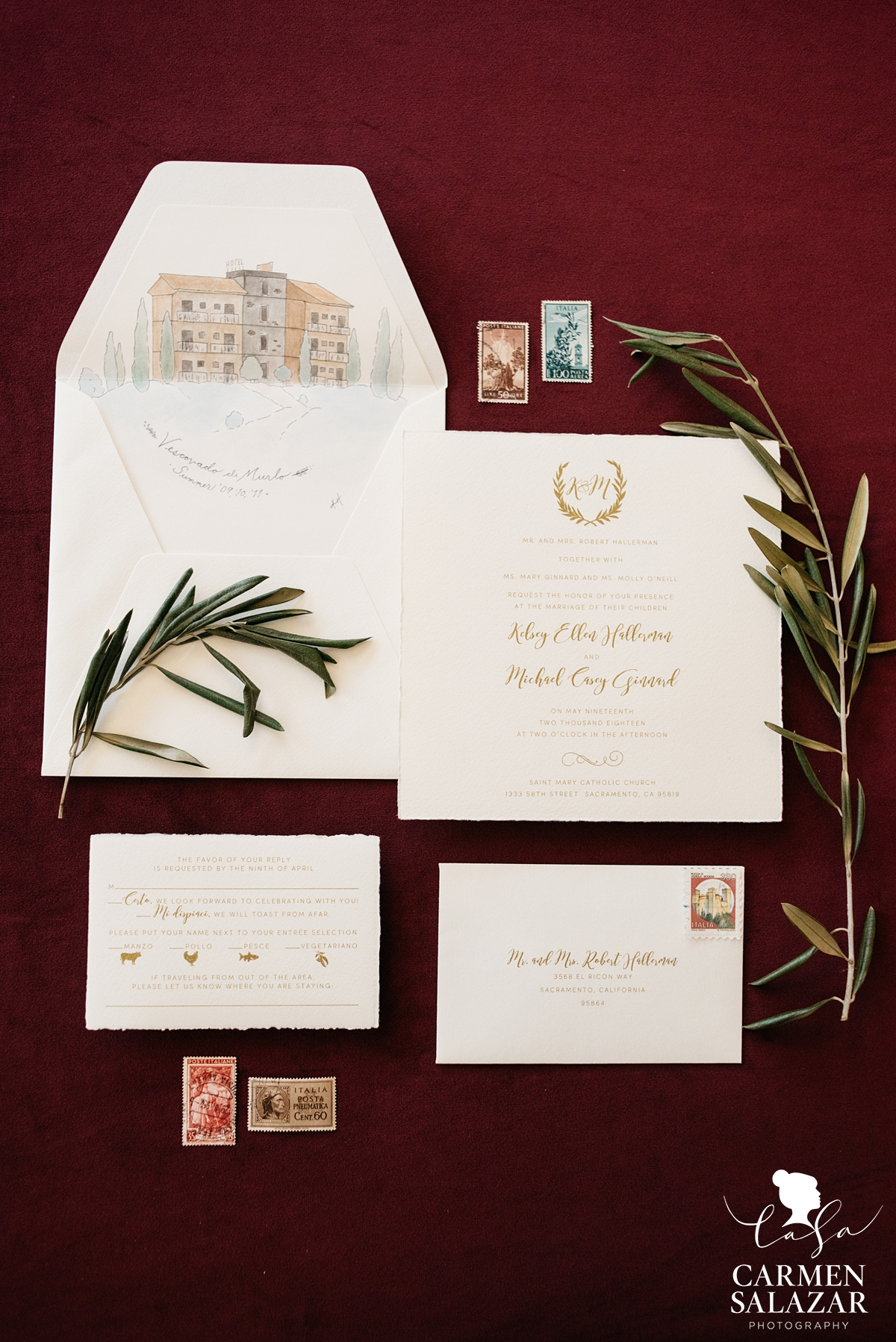 Italian Inspired wedding invites by Katie Davis Creative by Sacramento Wedding Photographer Carmen Salazar