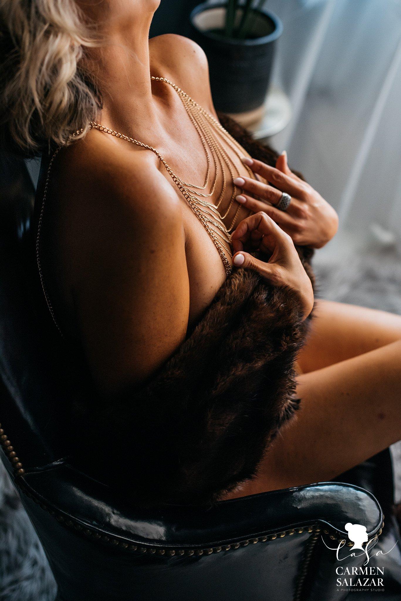 Closeup of sexy boudoir outfit by Sacramento Boudoir photographer Carmen Salazar