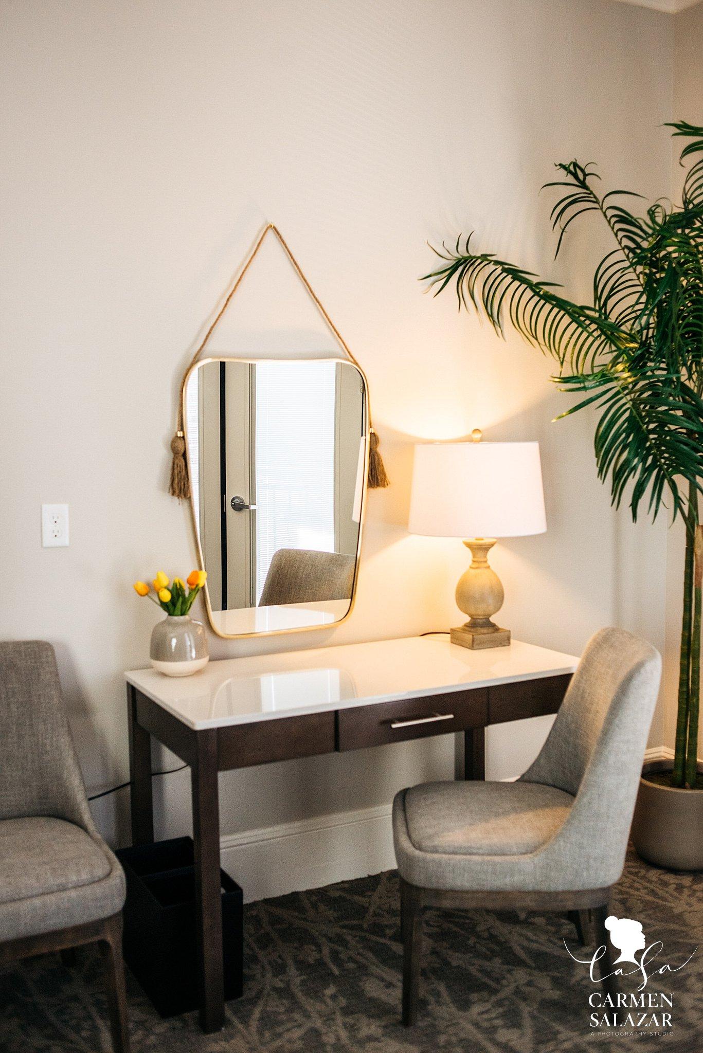 Modern vanity mirror in a wedding hotel