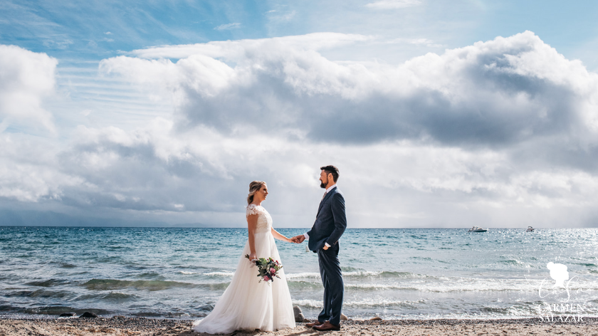 romantic wedding by the water